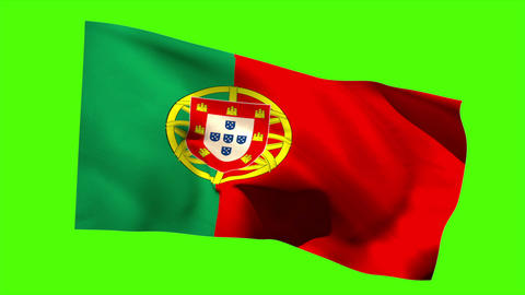 Portugal national flag blowing in the breeze Animation