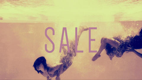 Two girls diving into swimming pool in evening dresses with sale text Animation