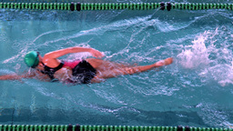 Fit female swimmer doing the front stroke in the swimming pool Live Action