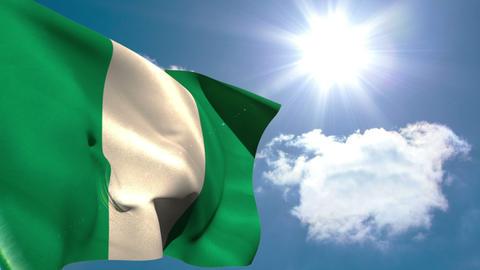 Nigeria national flag waving Animation