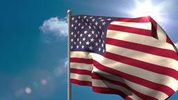 American national flag waving on flagpole Animation