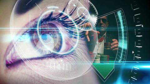 Eye looking at futuristic interface showing gambli Animation