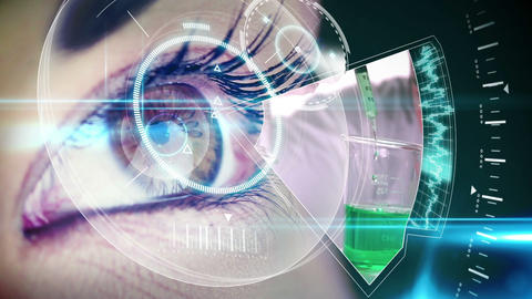Eye looking at futuristic interface showing laboratory clips Animation