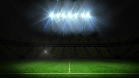 Lights flashing over football pitch, Stock Animation