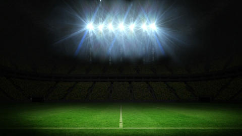 Lights flashing over football pitch Animation