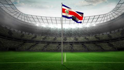 Costa Rica national flag waving on flagpole Animation