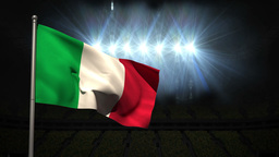 Italy National Flag Waving On Flagpole stock footage