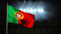 Portugal national flag waving on flagpole Animation