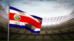 Costa Rica national flag waving on stadium arena Animation