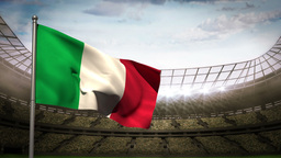 Italy national flag waving on stadium arena Animation