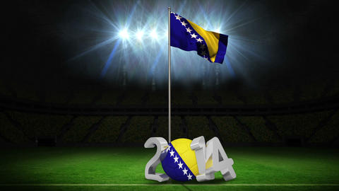 Bosnia and herzegovina national flag waving on foo Animation