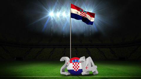 Croatia national flag waving on football pitch with message Animation