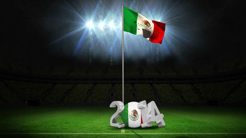 Mexico national flag waving on football pitch with message Animation