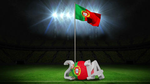 Portugal national flag waving on football pitch wi Animation