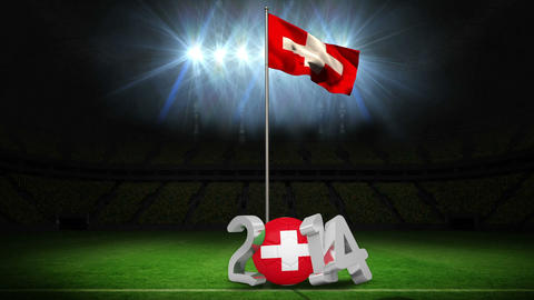 Switzerland national flag waving on football pitch with message Animation