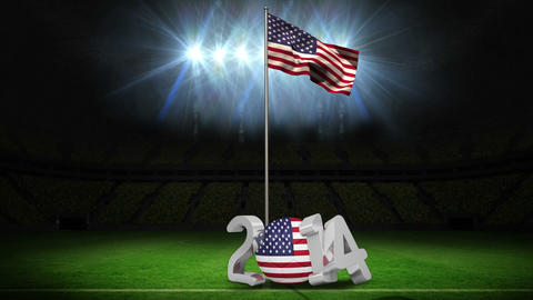United States of America national flag waving on football pitch with message Animation