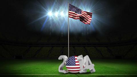 United States of America national flag waving on f Animation