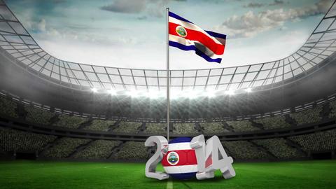 Costa Rica national flag waving in football stadium Animation