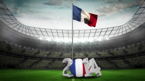 France national flag waving in football stadium Animation