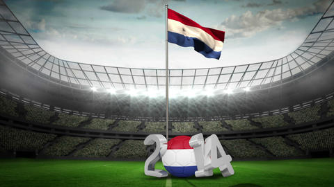 Netherlands national flag waving on flagpole Animation