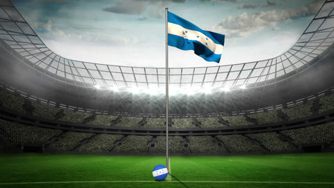 Honduras national flag waving on flagpole Animation