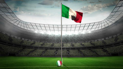 Italy national flag waving on flagpole Animation