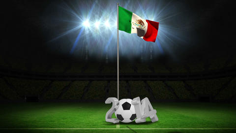 Mexico national flag waving on flagpole with 2014 message Animation