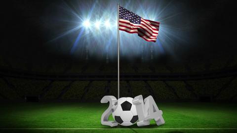 United States national flag waving on flagpole wit Animation
