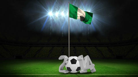 Nigeria national flag waving on flagpole with 2014 message Animation