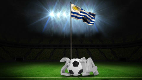 Uruguay national flag waving on flagpole with 2014 Animation