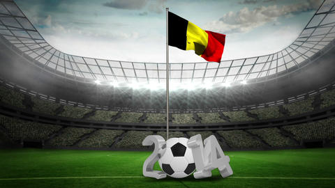 Belgium national flag waving on flagpole with 2014 message Animation