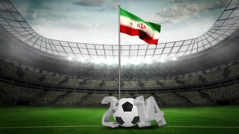 Iran national flag waving on flagpole with 2014 message Animation