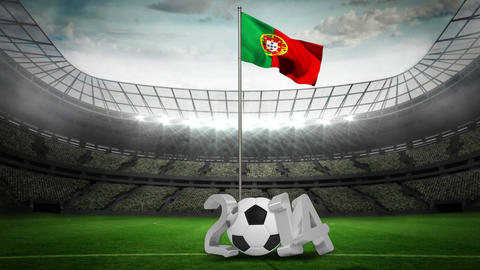 Portugal national flag waving on flagpole with 2014 message Animation