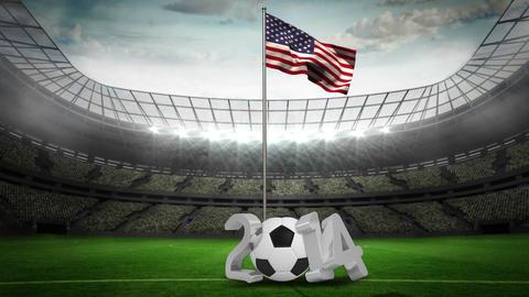 United States national flag waving on flagpole with 2014 message Animation