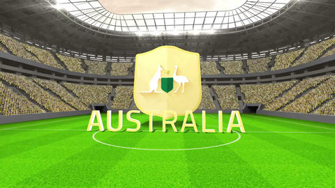 Australia world cup message with badge and text Animation