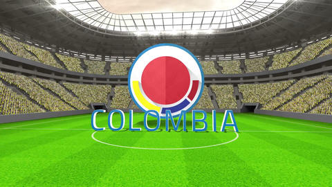 Colombia world cup message with badge and text Animation