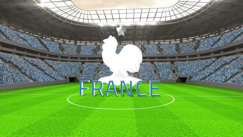 France world cup message with badge and text Animation