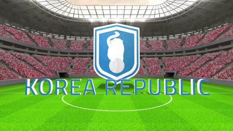 Korea Republic world cup message with badge and text Animation