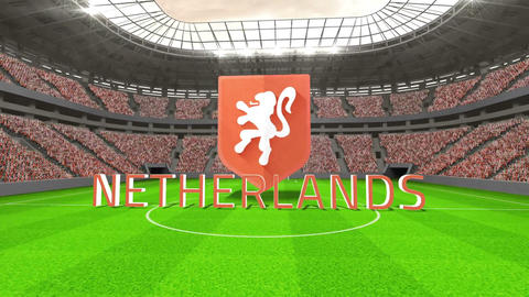 Netherlands world cup message with badge and text Animation