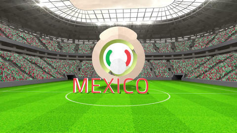 Mexico world cup message with badge and text Animation
