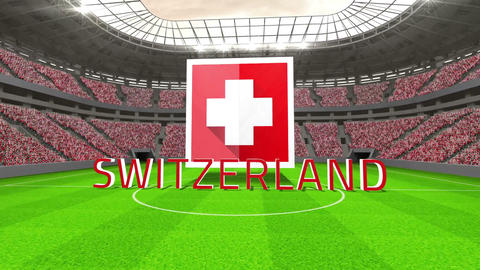 Switzerland world cup message with badge and text Animation