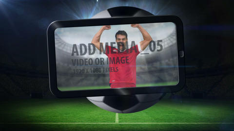 World cup animation with tablet screen showing pla Animation