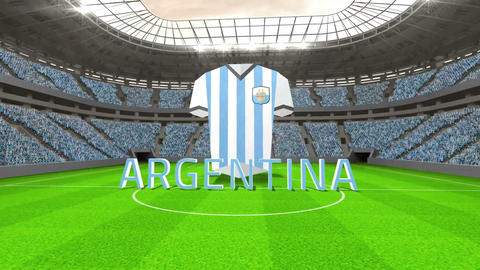 Argentina world cup message with jersey and text Animation