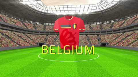 Belgium world cup message with jersey and text Animation