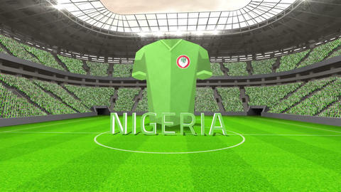 Nigeria world cup message with jersey and text Animation