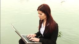 Businesswoman Working outdoors Footage