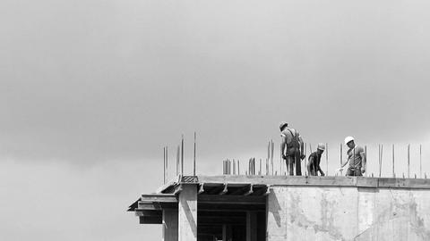 Workers at Construction Time Lapse B&W HD Footage