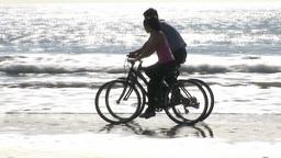 Couple on bikes Footage