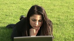 Business Woman Working Outdoors on Laptop Footage