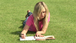 Girl Studying Outdoors Footage